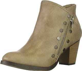 Edyn Womens Casual Block Heel Side Zipper Studded Ankle Bootie Boot