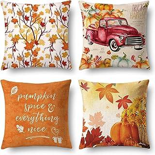 J-MOOSE – Juego de 4 fundas de cojín para otoño, algodón y lino, decorativas, fundas de cojín 45 x 45 cm (ojo de arce y calabaza)
