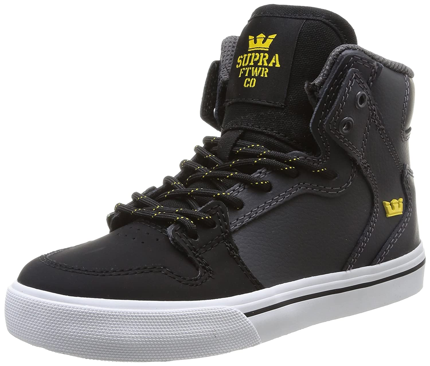 [Supra] Kids Vaider Grey/Black - White Skate Shoes