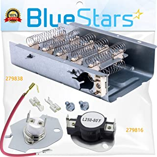 279838 & 279816 Dryer Heating Element With Dryer Thermostat Kit by Blue Stars - Exact Fit for Whirlpool & Kenmore Dryers