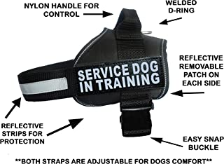 Servcie Dog in Training Nylon Dog Vest Harness. Purchase Comes with 2 Reflective Service Dog in Training Removable Patches. Please Measure Your Dog Before Ordering