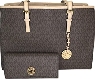 02d0ab85f5df MICHAEL Michael Kors Jet Set Travel Large EW Tote bundled with Michael Kors  Fulton Flap Continental