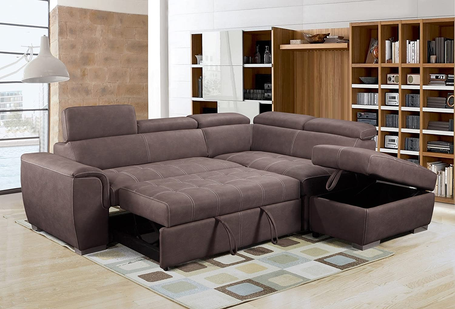 Rienzo Large Brown Fabric Suede Corner Sofa Bed With Tilting Headrest And Storage Ottoman (Right Hand Facing): Amazon.co.uk: Kitchen & Home