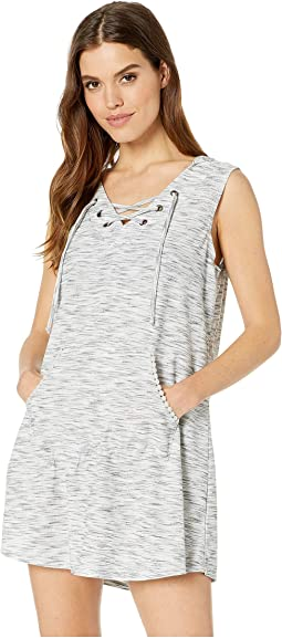 Sandstone Laced-Up Hoodie Tunic Cover-Up