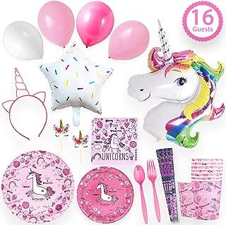 Unicorn Party Supplies | Serves 16 - Unicorn Party Decorations | Favors | Headband | Unicorn Balloons | Cupcake Toppers | Unicorn Birthday Party Supplies