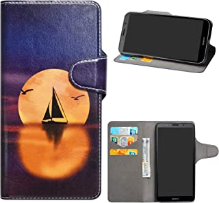 HHDY Compatible with Huawei Y5 2018 Case,Flip PU Leather Wallet with Viewing Stand/Card Slots Pattern Design Cover for Huawei Y5 2018 / Honor 7S / Honor Play 7,Sailboats & Moon