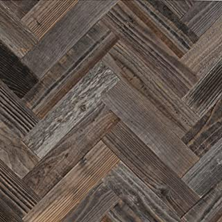 Epic Artifactory DIY Reclaimed Barn Wood Wall - Herringbone Pattern - Easy Peel and Stick Application, 40 sq. ft. …