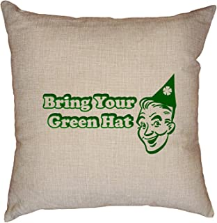 Hollywood Thread Old School Bring Your Green Hat Party Streaking Decorative Linen Throw Cushion Pillow Case with Insert