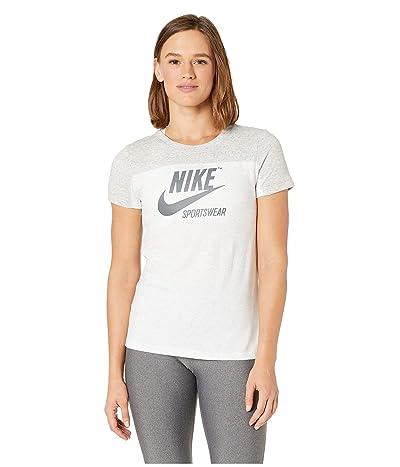Nike Sportswear Gym Vintage Top Short Sleeve Graphics (Grey Heather/Birch Heather/Dark Grey) Women