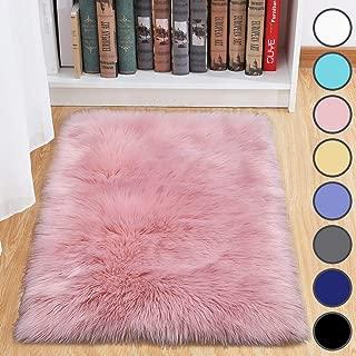 Junovo Luxury Plush Faux Sheepskin Area Rug Fluffy Faux Fur Shag Carpet, 2ft x 3ft Pink