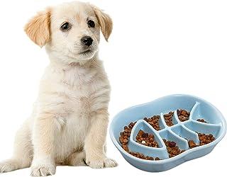 Jemirry Dog Slow Feeder Ceramic Cat Dog Bowl Dog Dish Slow Feeding Food Bowls for Bulldog Puppy Medium Dogs Pet Diet-Light...