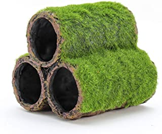Penn Plax Hideaway Pipes Aquarium Decoration Realistic Look with Green Moss Like Texture | Fun for Fish and adds a to The ...