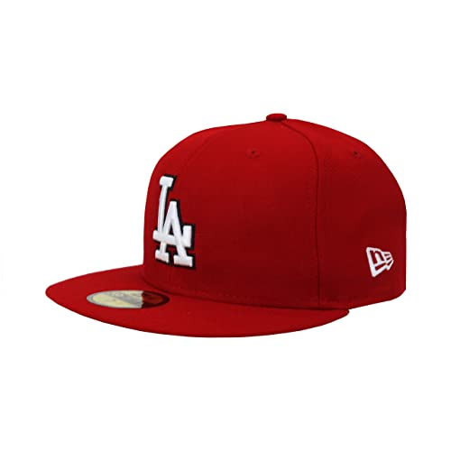 New Era... 59Fifty Hat Los Angeles Dodgers MLB Baseball Red Fitted Headwear  Cap 7f4f81359e88