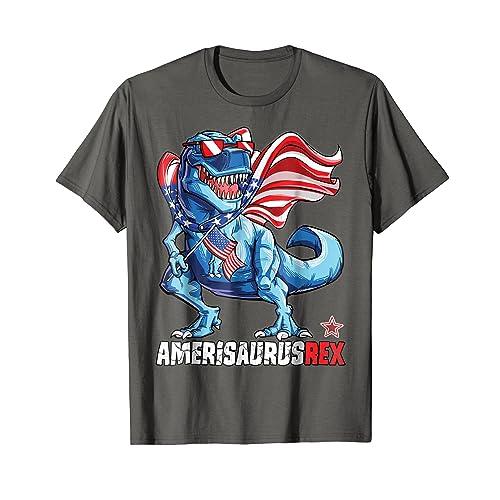3e377bf5063d0 Dinosaur 4th of July T shirt Kids Boys Men Amerisaurus T Rex