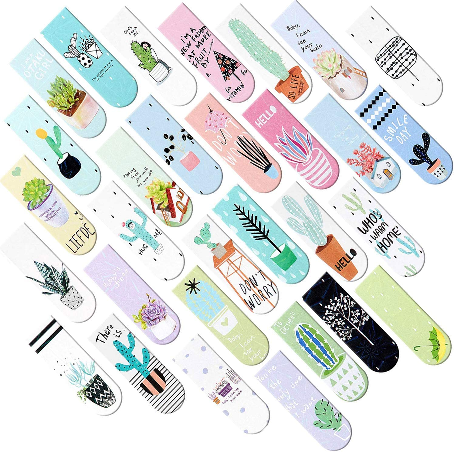 Focushop 30 Pcs Magnetic Bookmarks Succulen Assorted Cute Special price for a Max 53% OFF limited time Cactus
