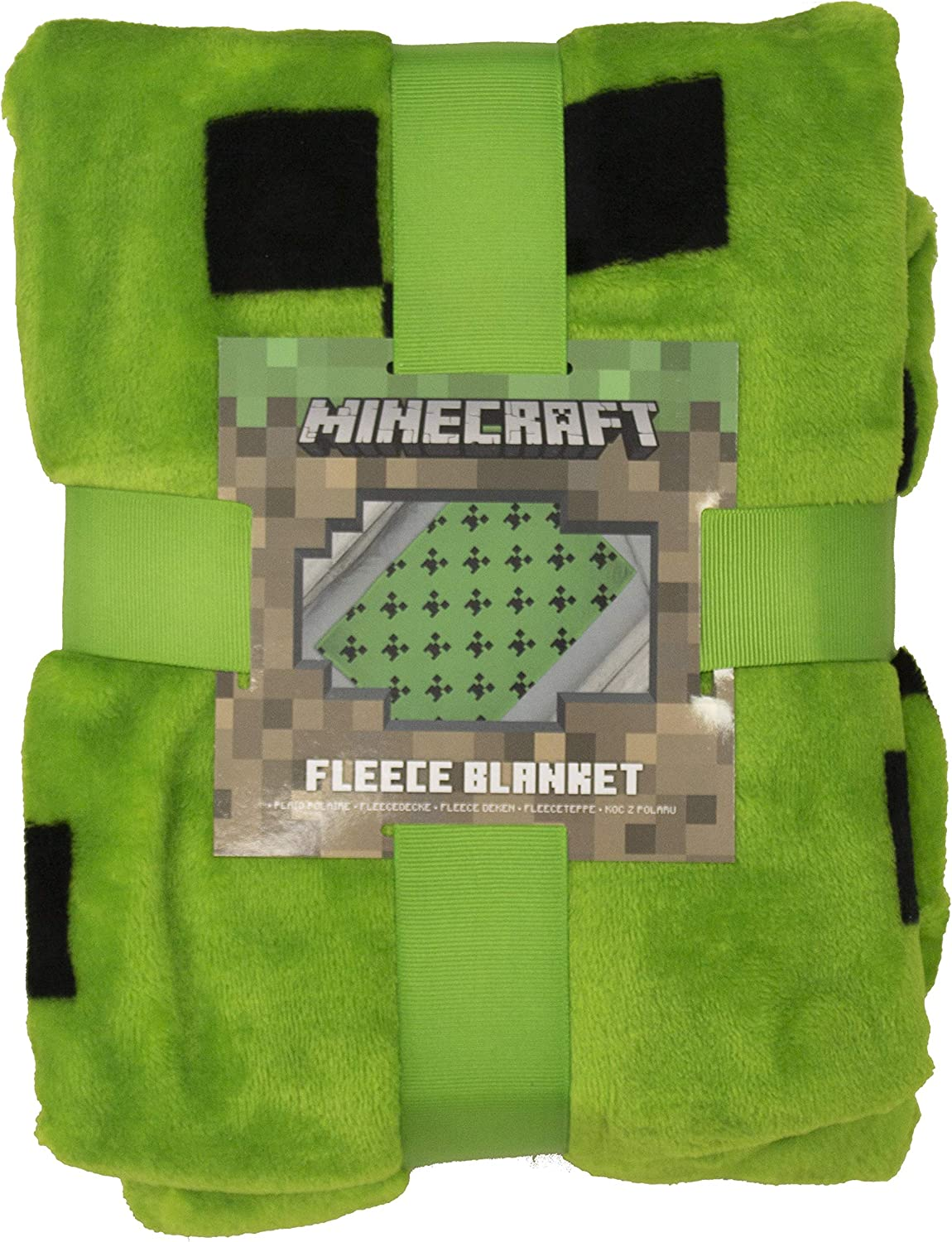 Minecraft Official Emerlald Fleece Throw  Green Creeper Design Super Soft  Blanket  Perfect for Any Bedroom