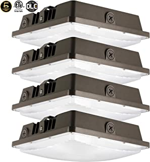 LED Canopy Light 80W,ETLus-Listed and DLC-Qualified,5000K Daylight White, 9600Lumen, 120-277VAC,175-450W MH/HPS/HID Replacement, IP65 Waterproof and Outdoor Rated, 5 Years Warranty,4Pack