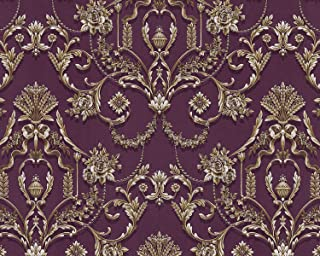 Baroque wallcovering Wall EDEM 81201BR45 hot Embossed Non-Woven Wallpaper with Ornaments and Metallic Highlights Violet Purple Violet Bronze Silver 10.65 m2 (114 ft2)