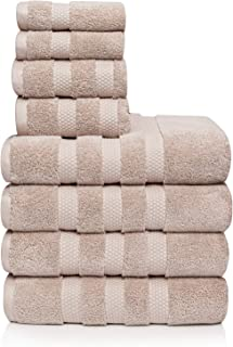 Vivendi Infinity Zero Twist 100% Cotton 8-Piece Towel Set, 4 Bath, 2 Hand, 2 Wash (Linen)