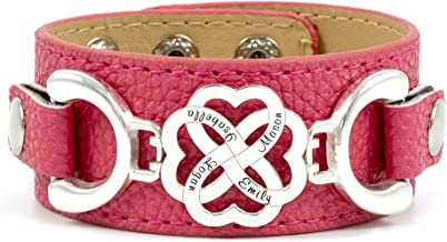 Personalized and Interchangeable Four Hearts As One PU Leather Bracelet. 4-Heart 925 Charm with Customized Names. Adjustable for Best Fit. Up to 13 Colors Available. Interchangeable Colors and Styles