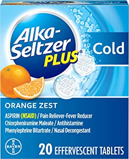 Alka-Seltzer Plus Cold Medicine, Orange Zest Effervescent Tablets with Pain Reliever/Fever Reducer, Orange Zest, 20 Count