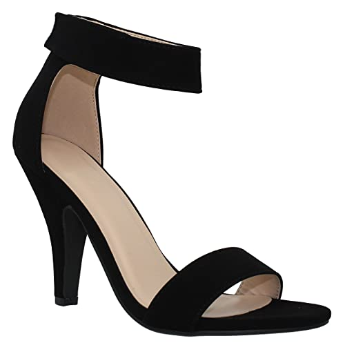 846692b80da MVE Shoes Womens Stylish Strappy Self Ankle Tie Pointed Toe Heel Pump
