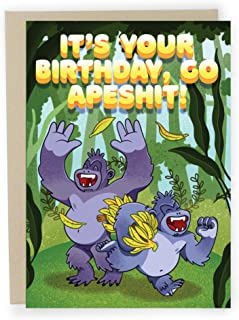 Sleazy Greetings Funny Birthday Card For Men or Women | Cute Greeting Card For Dad Friend | Go Apeshit Card