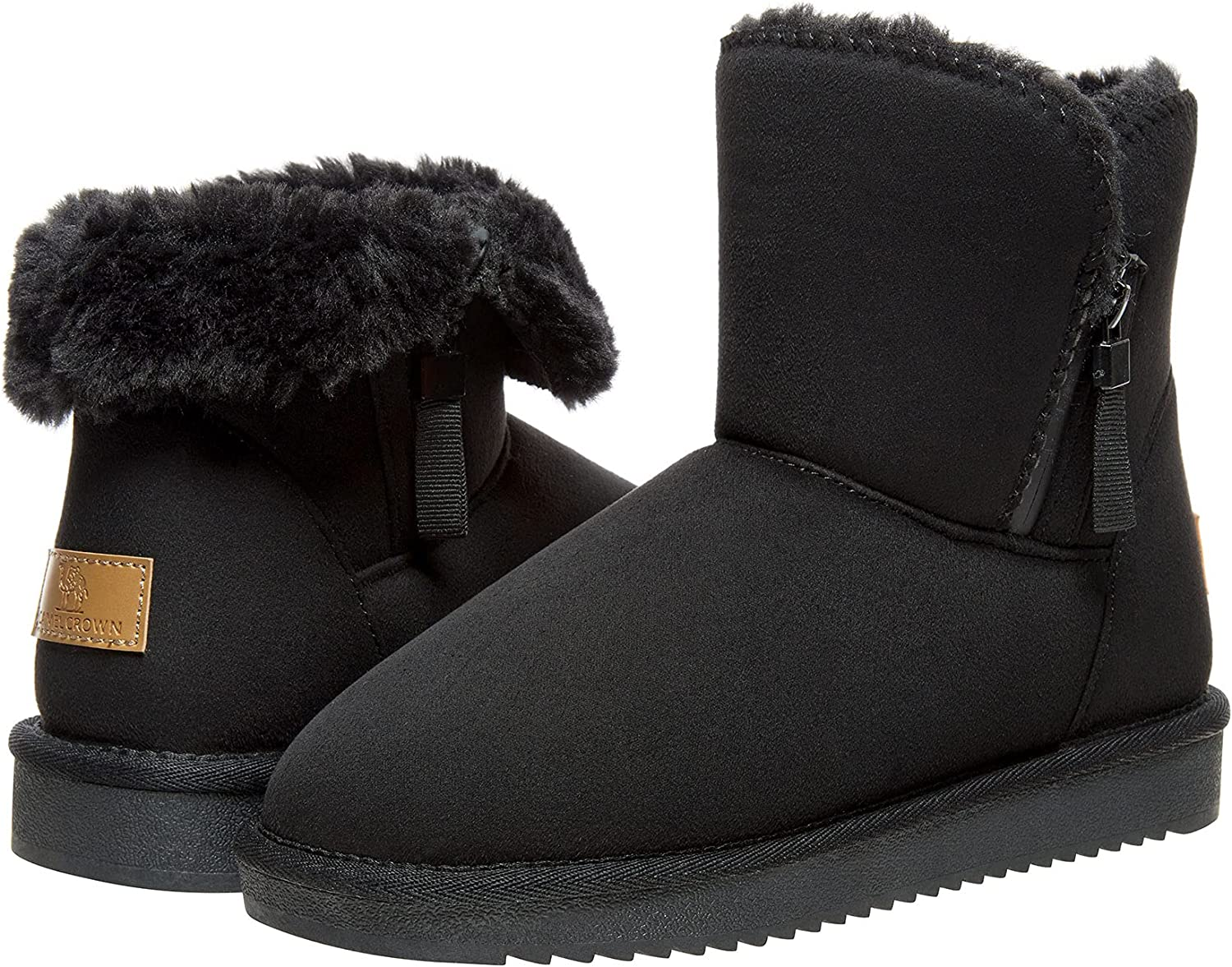   CAMEL CROWN Women's Warm Faux Fur Lined Snow Boots Mid-Calf Zipper Booties Anti-Slip Winter Boots for Cold Weather   Snow Boots