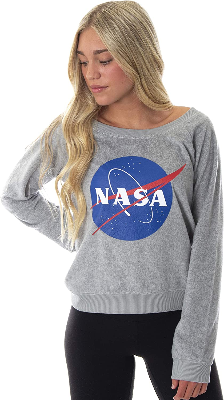 NASA Meatball Logo Juniors' Fleecy Soft Long Sleeve Sleep Lounge Loungewear Pajama Top