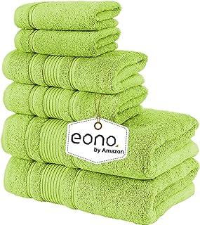 Eono by Amazon, Toallas de SPA y Hotel Juego de Toallas de 6 Piezas, 2 Toallas de baño, 2 Toallas de Mano y 2 toallitas(Ve...