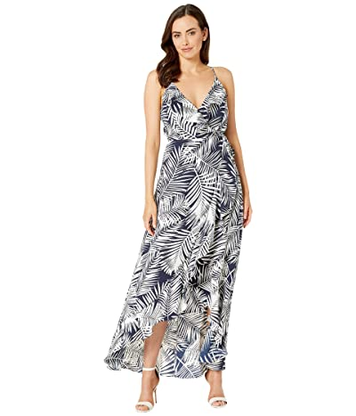 American Rose Lucy V-Neck Ruffle Maxi Dress (Navy/White) Women
