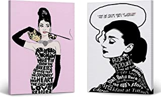 Smile Art Design Audrey Hepburn Wall Art Quote Two Piece Canvas Print Set Pink and White Illustration Breakfast at Tiffany`s Modern Framed Living Room Bedroom Home Decor Ready to Hang 12x8