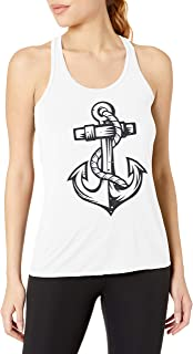 Clementine Women's Anchor Printed Flowy Racerback Tank