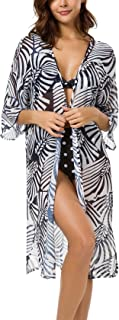 ZZER Women Floral Chiffon Kimono Cardigan Beach Swimsuit Bikini Cover up