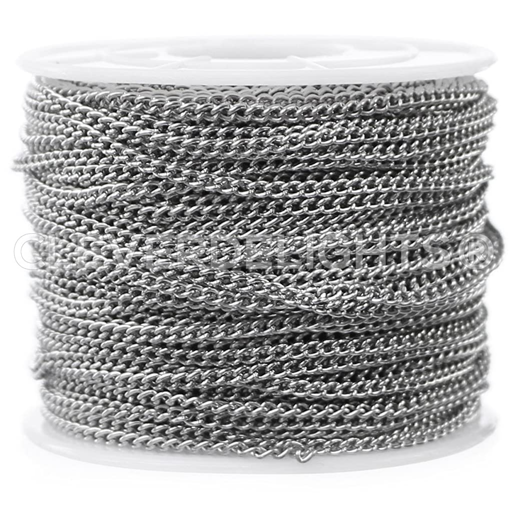 CleverDelights Curb Chain Spool - 2.2x3mm Link - Antique Silver (Platinum) Color - 30 Feet - Bulk Chain