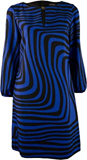 Tahari by ASL Women's Geo-Print Belted Shift-CB-4 Cobalt Blue