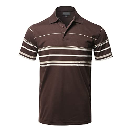 2XL NEW MENS POLO SHIRT STRIPED UNISEX SHORT SLEEVE CASUAL WORK T SHIRT SIZE M
