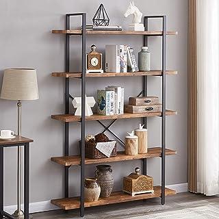 SUPERJARE 5-Shelf Industrial Bookshelf, Open Etagere...