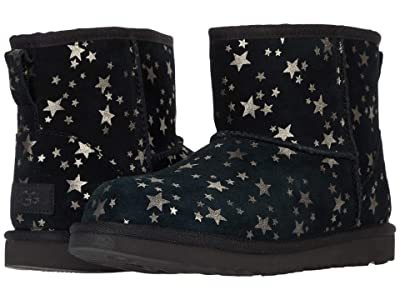 UGG Kids Classic Mini II Stars (Little Kid/Big Kid) (Black) Girls Shoes
