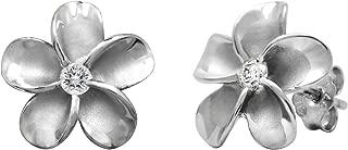 Sterling Silver Plumeria Stud CZ Earrings, 12mm