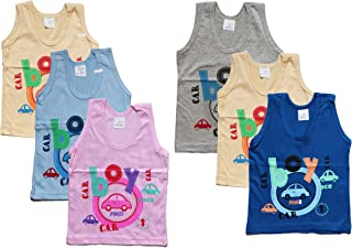 ONLINE CHOICE Boys Cartoon Printed 100% Cotton Vest (Pack of 6)