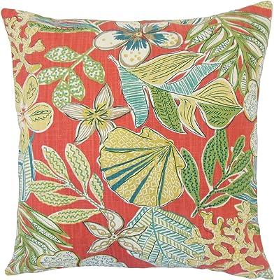 One Bella Casa Tis The Season Ikat Tree Reversible Throw Pillow 26 X 26 Ivory Teal Purple Home Kitchen