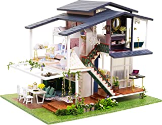 Spilay DIY Dollhouse Miniature with Wooden Furniture,Handmade Home Craft Model Mini Kit,French Romantic Garden Villa with ...