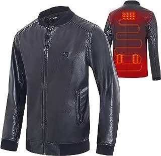 Vinmori Heated Jacket Leather Motorcycle Jacket USB Heated Clothing (No Battery)