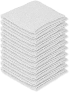 DecorRack 10 Pack 100% Cotton Wash Cloth, Luxurious Soft, 12 x 12 inch Ultra Absorbent, Machine Washable Washcloths, White (10 Pack)