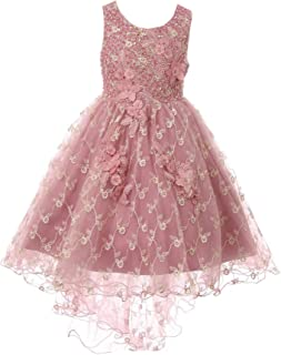 e48feb495cf Cinderella Couture Little Girls Mauve Rhinestone Sequin Embroidered Flower  Girl Dress 2-6