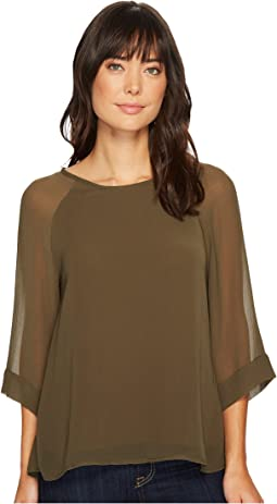 B Collection by Bobeau - Birdie Mix Media Blouse