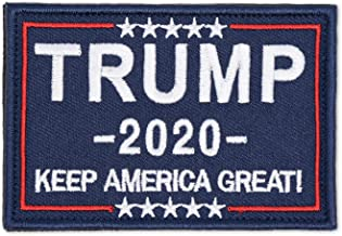 Trump 2020 Trump 2020 Morale Sewn On Patch Make America Great Again Tactical Military Army Gear Embroidered Hook/&Loop Fastener Backing Emblem Collectable Patches Blue