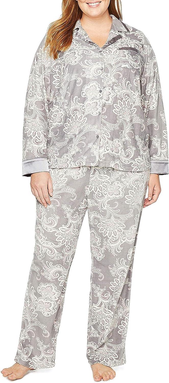 Claiborne Women's Plus Size Soft Flannel Pajama Set