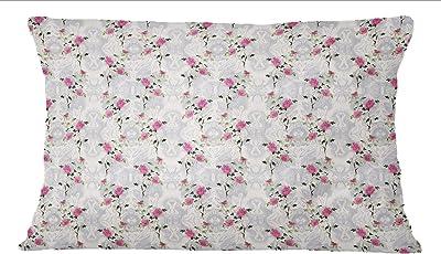 S4Sassy Ocher Yellow 2 Pcs Floral Print Cotton Poplin Sham Cushion Cover